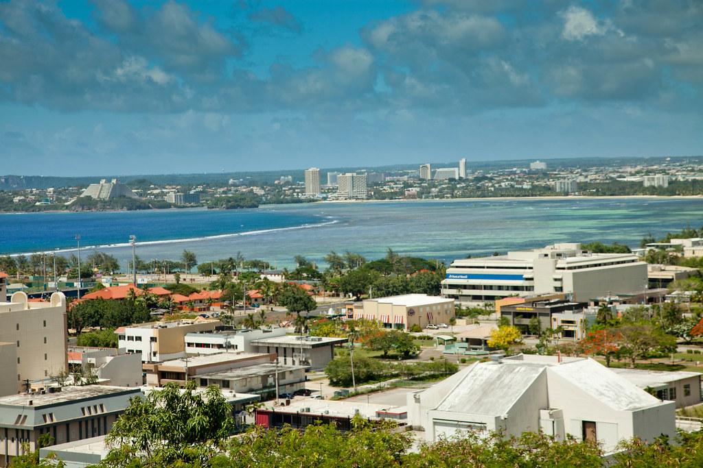 Una vista de pájaro de Guam, EE.UU.